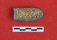 Бронзовый с позолотой наконечник ремня конской упряжи (эпоха средневековья)