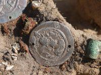 Фрагмент налобной повязки с нашитыми на неё монетами династии Сасанидов. Погребение 8 - 9 веков. Крохалёвка-13